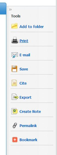 Screenshot of toolbar in EBSCO with buttons for print, email, save, cite, export, create note, permalink, bookmark