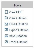 JSTOR toolbar with buttons to view PDF, view citation, export citation, save citation, track citation