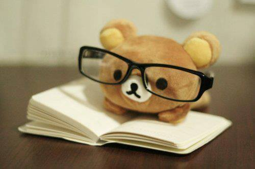Bear stuffed animal with glasses on top of a book