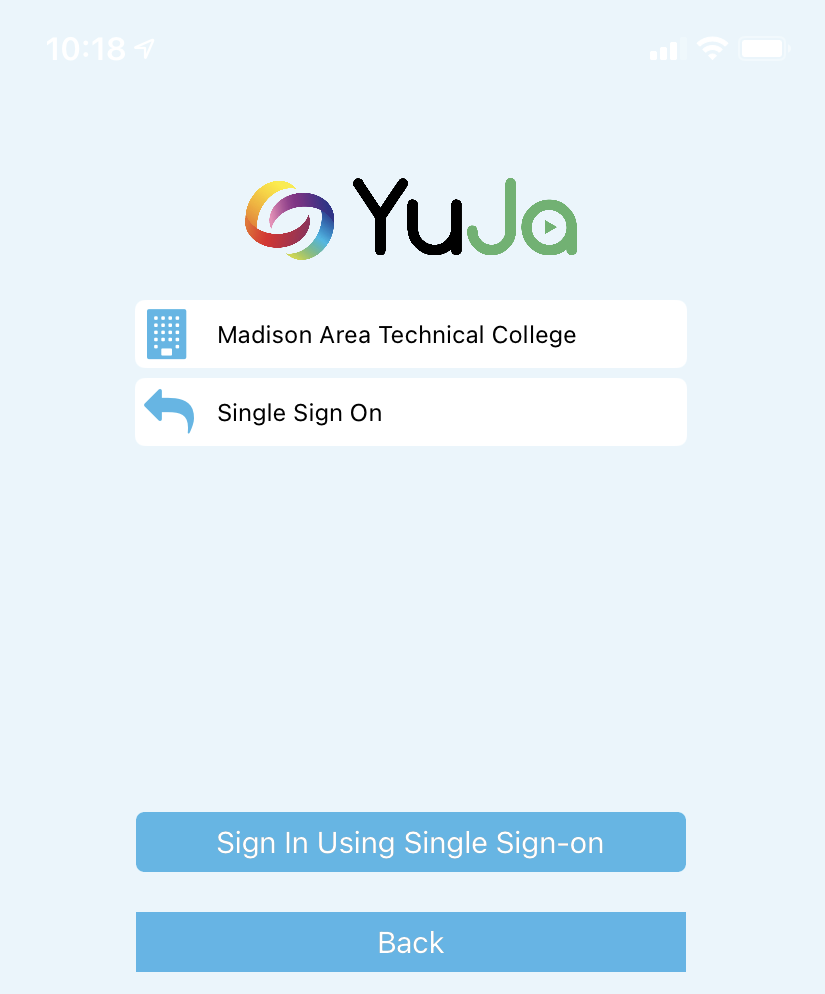 YuJa MC sign-in page