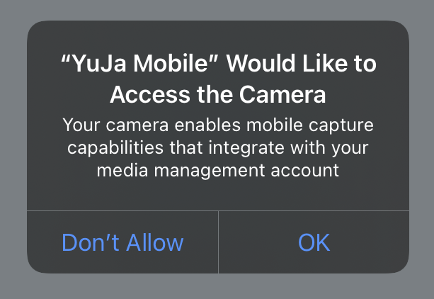 Allow access to camera prompt