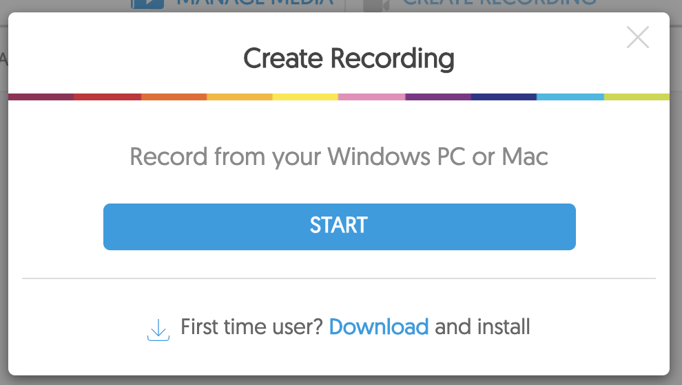 image of the start button and download link below