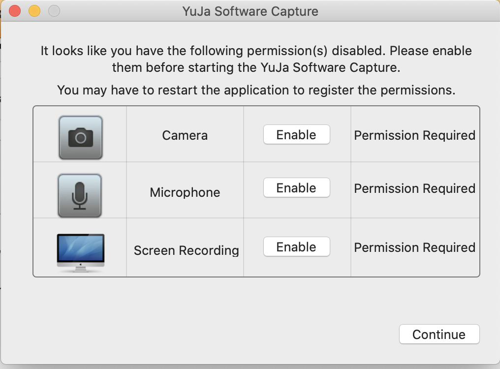 image of the permissions window for mac