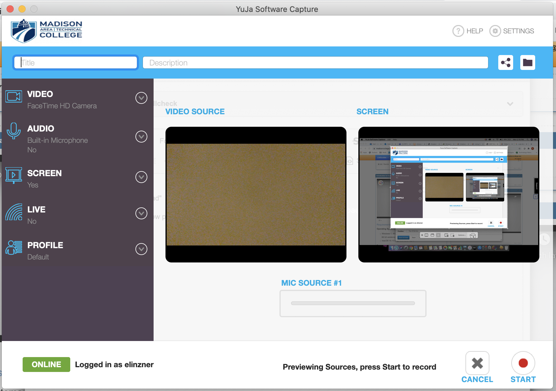image of the YuJa recording interface