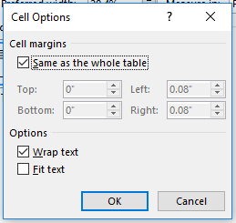 cell options same as the whole table selected