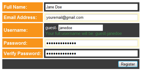 Screenshot of fields to enter personal info
