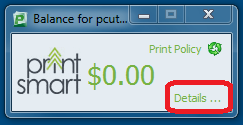 Screen capture of the print balance window