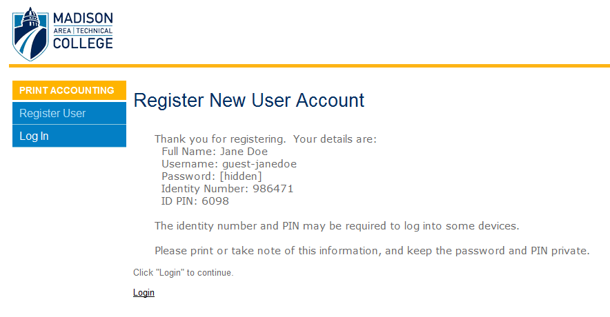 Screenshot of account creation confirmation page