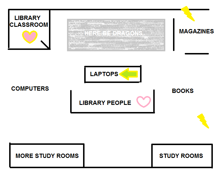 crudely drawn map of BTC Library