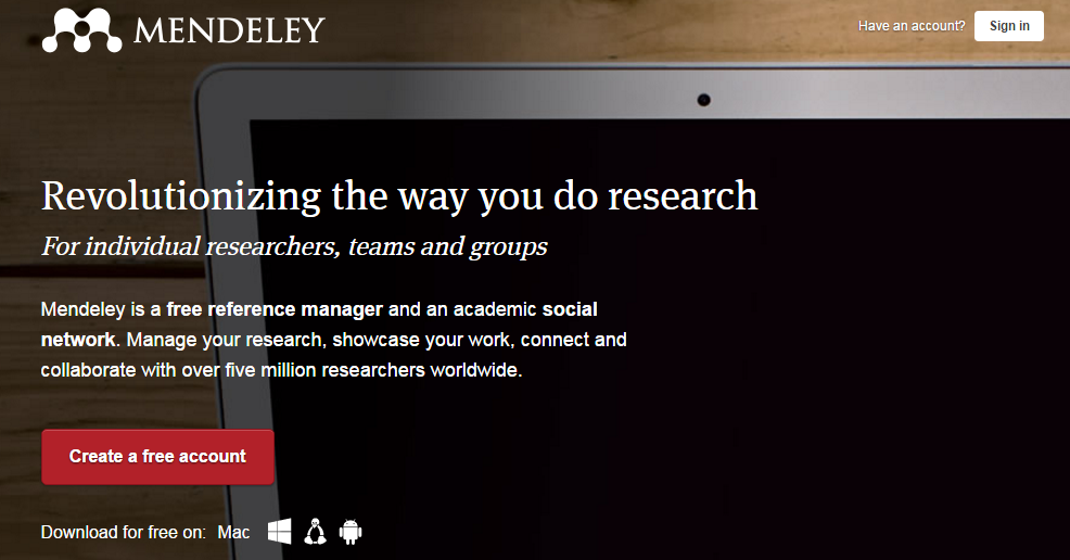 Organizing your research with Mendeley