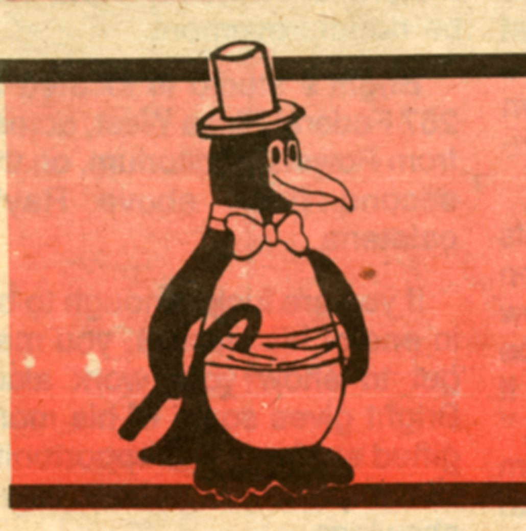 ink drawing of a penguin in a tuxedo