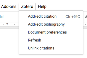 Zotero screenshot in Google Docs