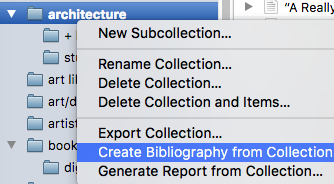 Zotero Generate Bibliography screenshot