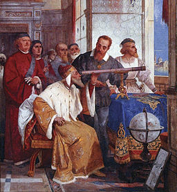 image of Galileo showed the Doge of Venice how to use the telescope