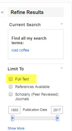 Ebsco full-text only