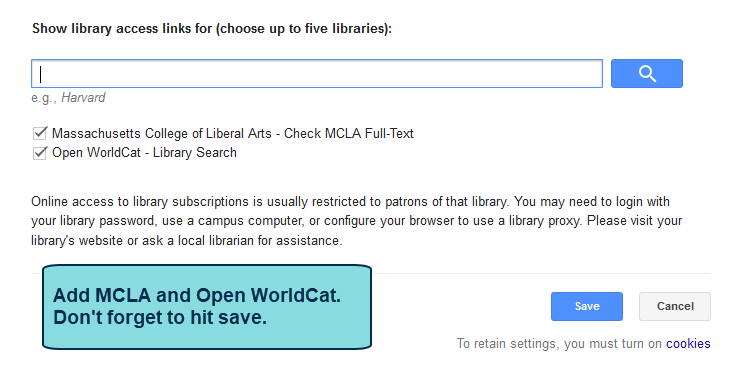 add mcla library to access links