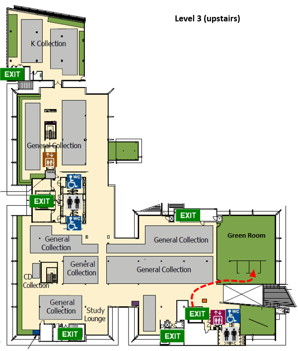 Map to Quiet Study Pod level 3