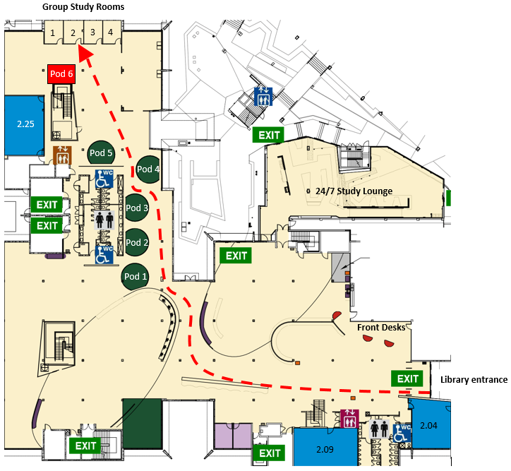Map to Group Sudy Room 2