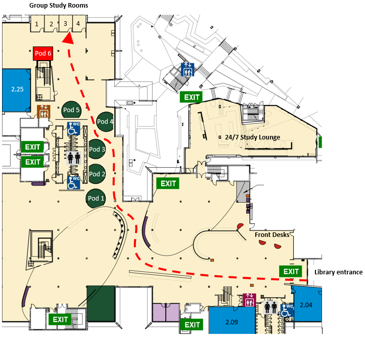 Map to Group Study Room 3