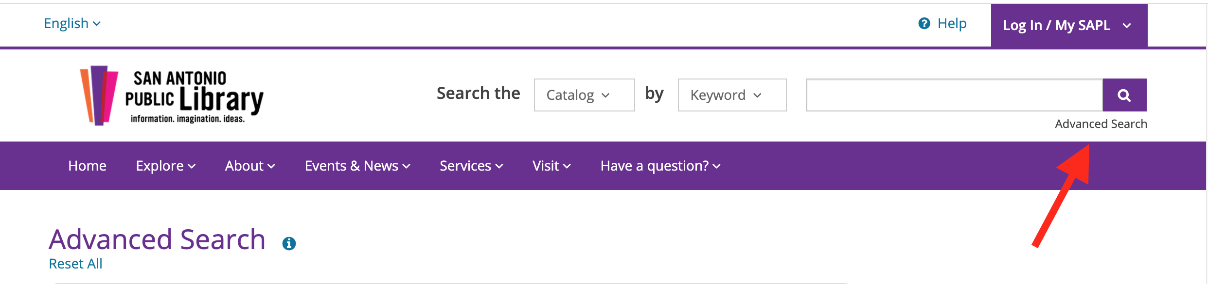 Advanced Search link on SAPL