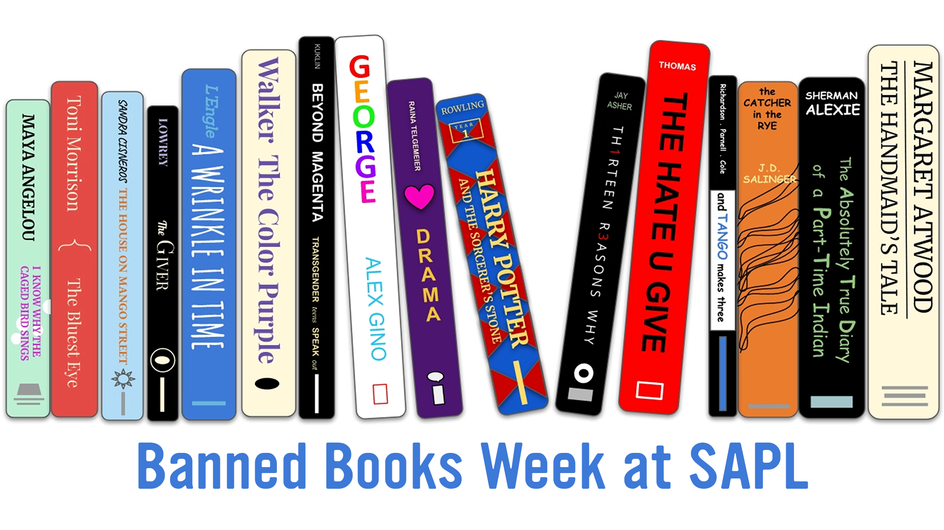 banned books week bookshelf. Click image to learn more about banned books