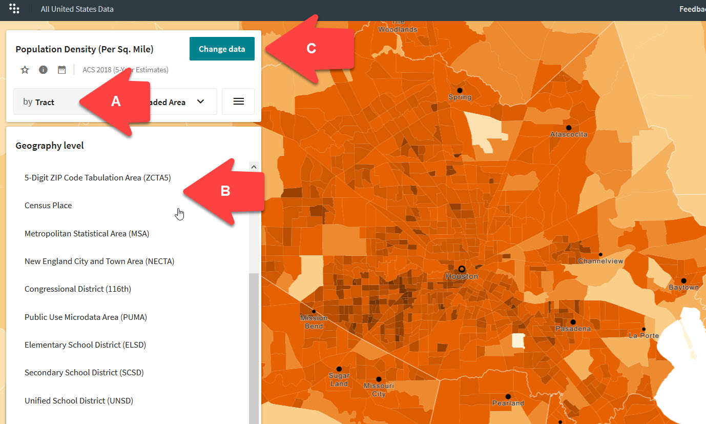 Screen shot of the social explorer main maps page