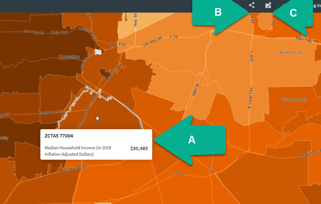 Screen shot of the social explorer map interface showing physical location of options