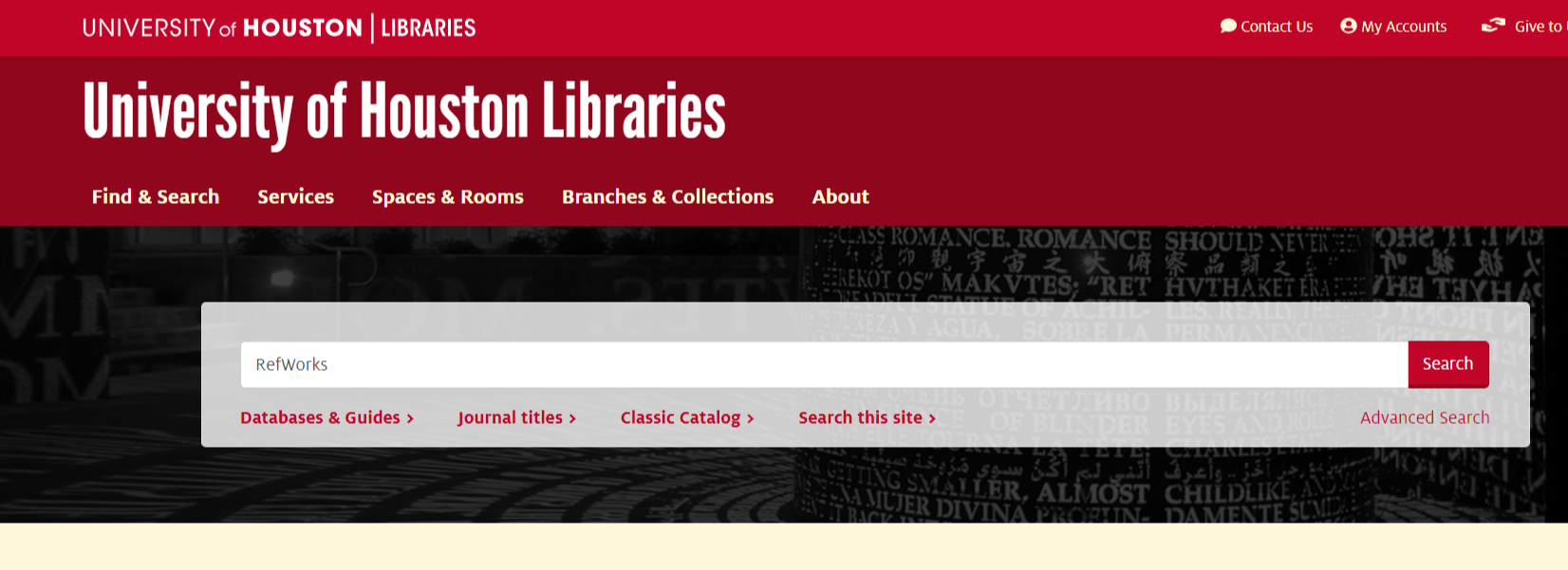 "Search for ""RefWorks"" from the library's OneSearch."