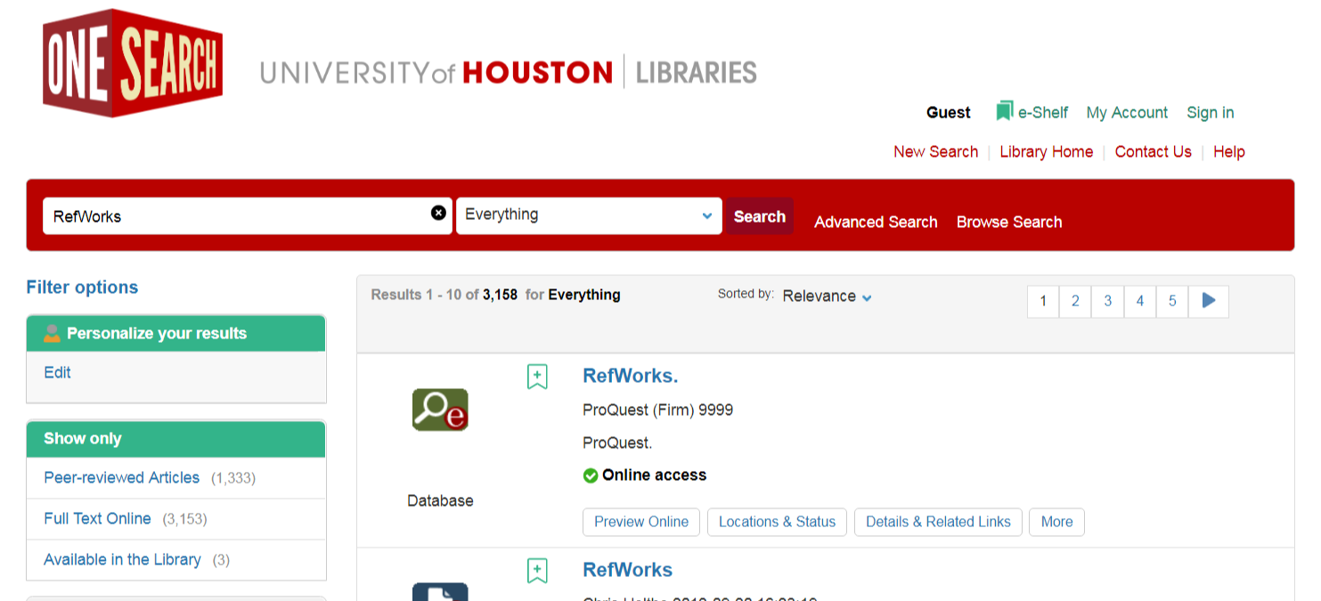 "Select the ""RefWorks"" database result."