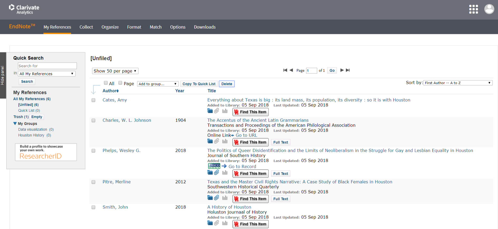 Screenshot of the EndNote Online user interface.