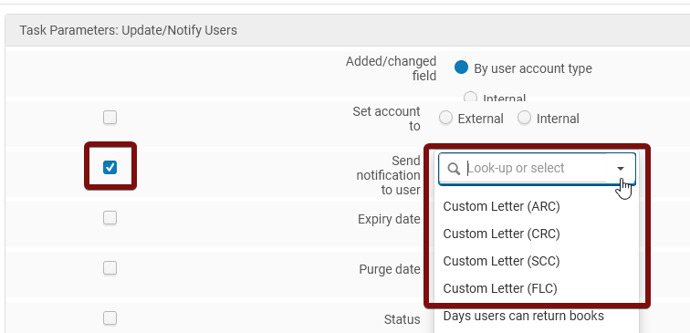 Check box and select proper value from Send notification to user