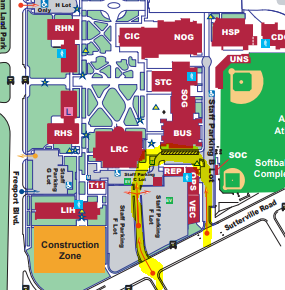 Campus map showing pickup area