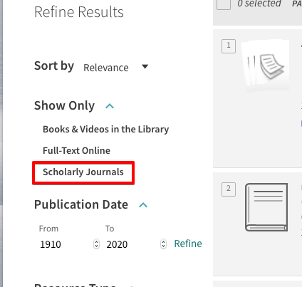 Scholarly Journals limiter in OneSearch