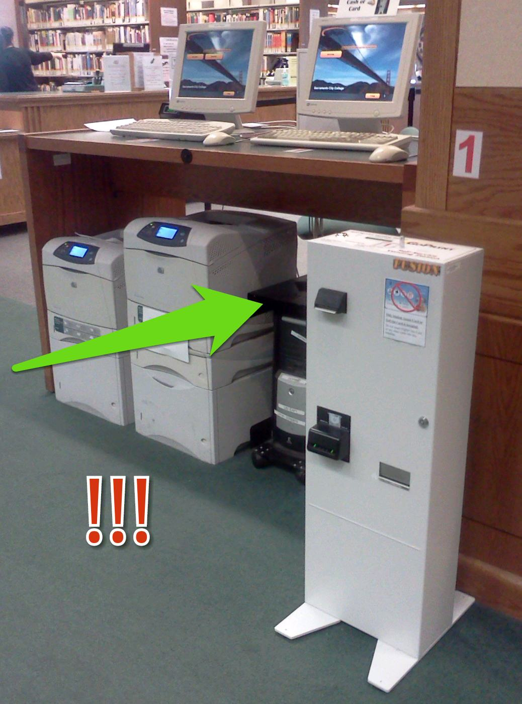 Printer with attached tower that accepts cash