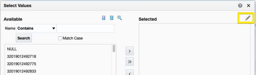 Select Values dialog with Edit icon highlighted