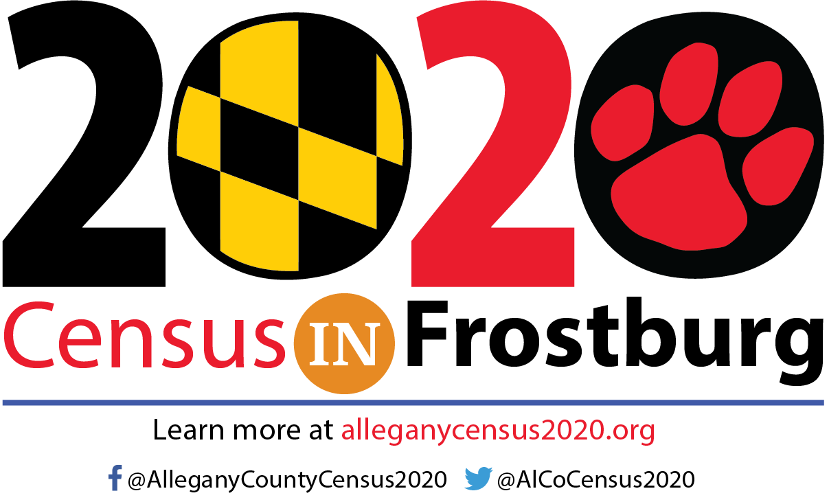 Logo for 2020 Census in Frostburg. Includes link to allegany2020census.org as well as Facebook link (@AlleganyCountyCensus) and Twitter (@AlCoCensus2020).