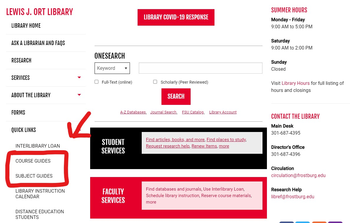 Screen shot of Library web page with links to subject and course guides highlighted