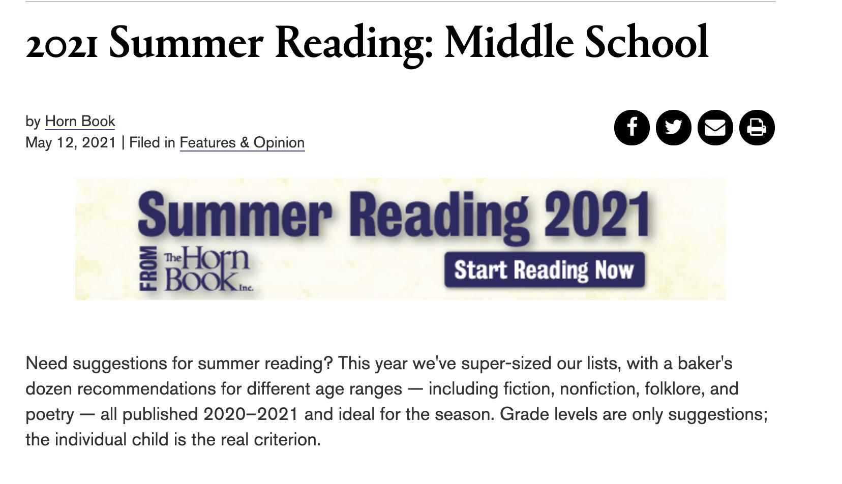 Horn Book Summer reading Guide
