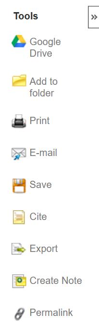 screenshot of psycinfo tools menu