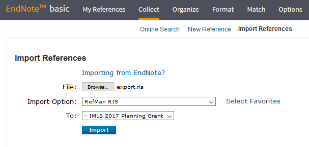 EndNote Import Screen