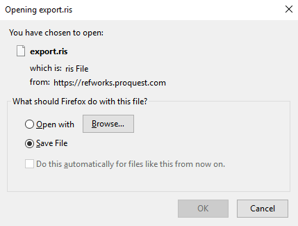 Export from New RefWorks