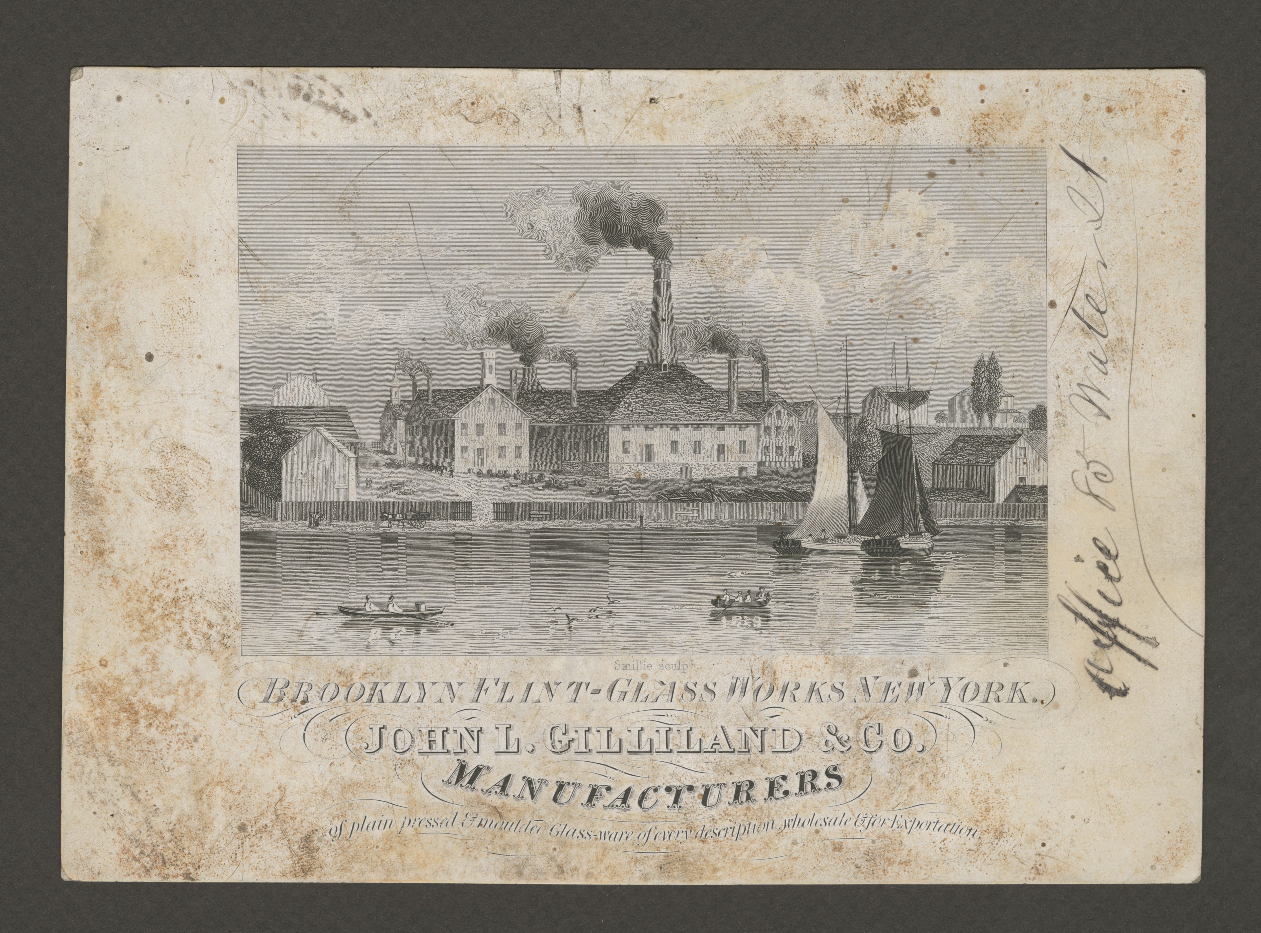 Engraving features Brooklyn Flint Glass Works factory buildings along river, 1852