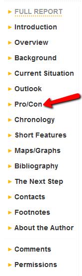 screenshot of CQ Researcher report sections