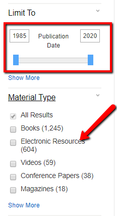 screenshot of how to narrow search by date and to ebooks