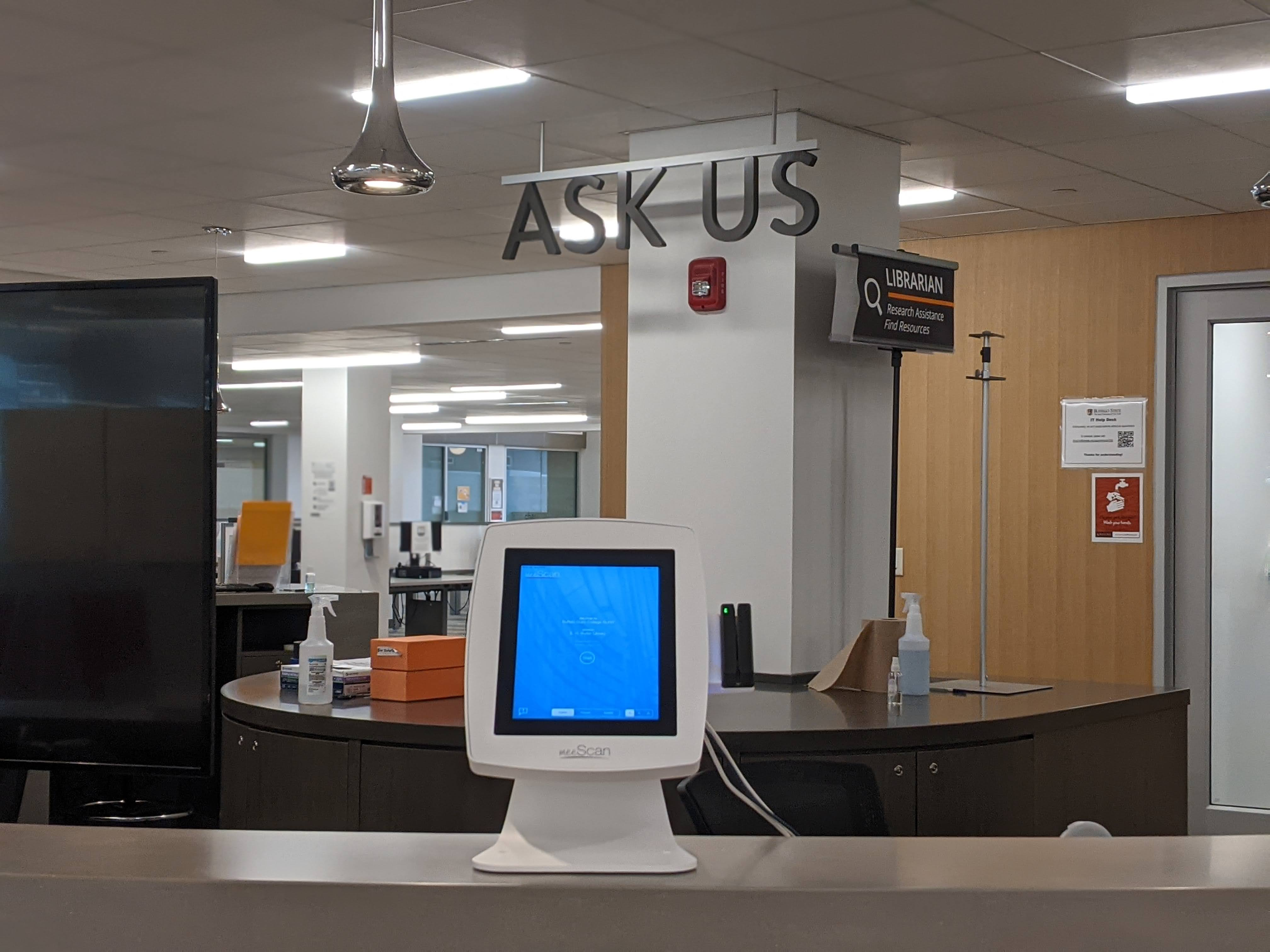 self checkout station in the library