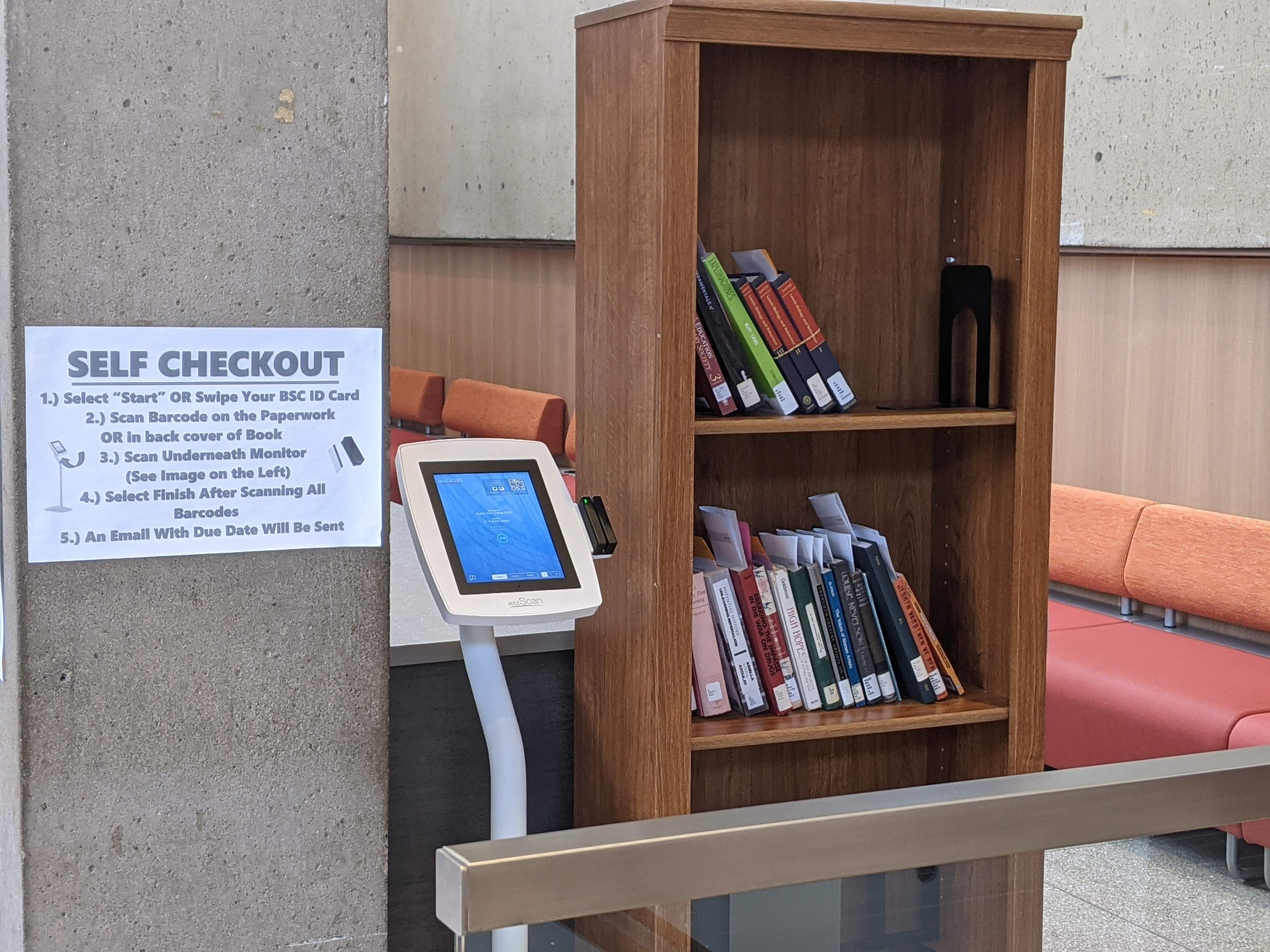 self checkout station in the lobby