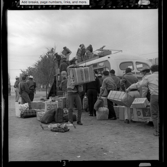Braceros loading their belongings onto a bus bound home to Mexico, 1965