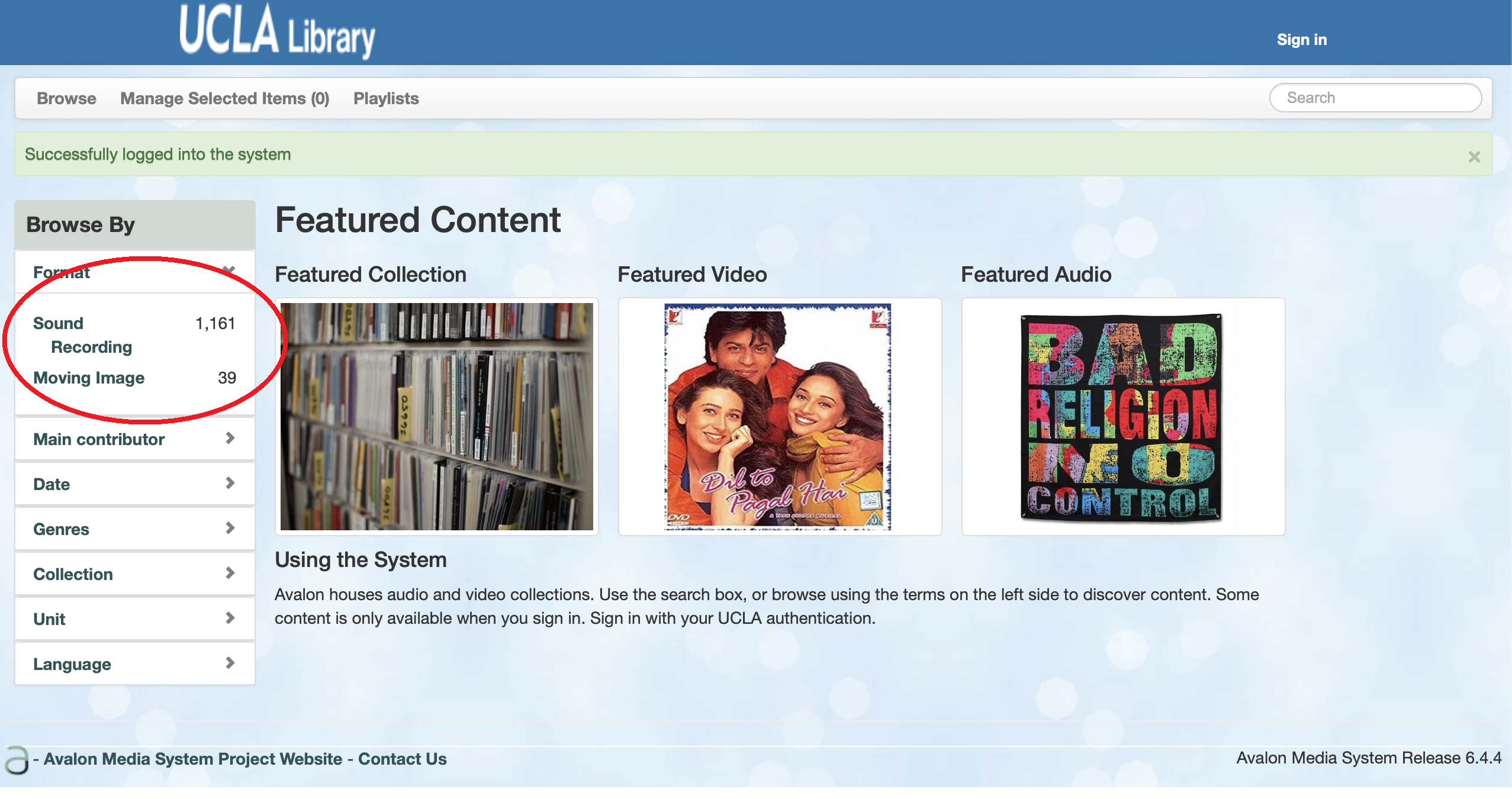 Screen shot of Avalon with thousands of records showing because the user is signed in