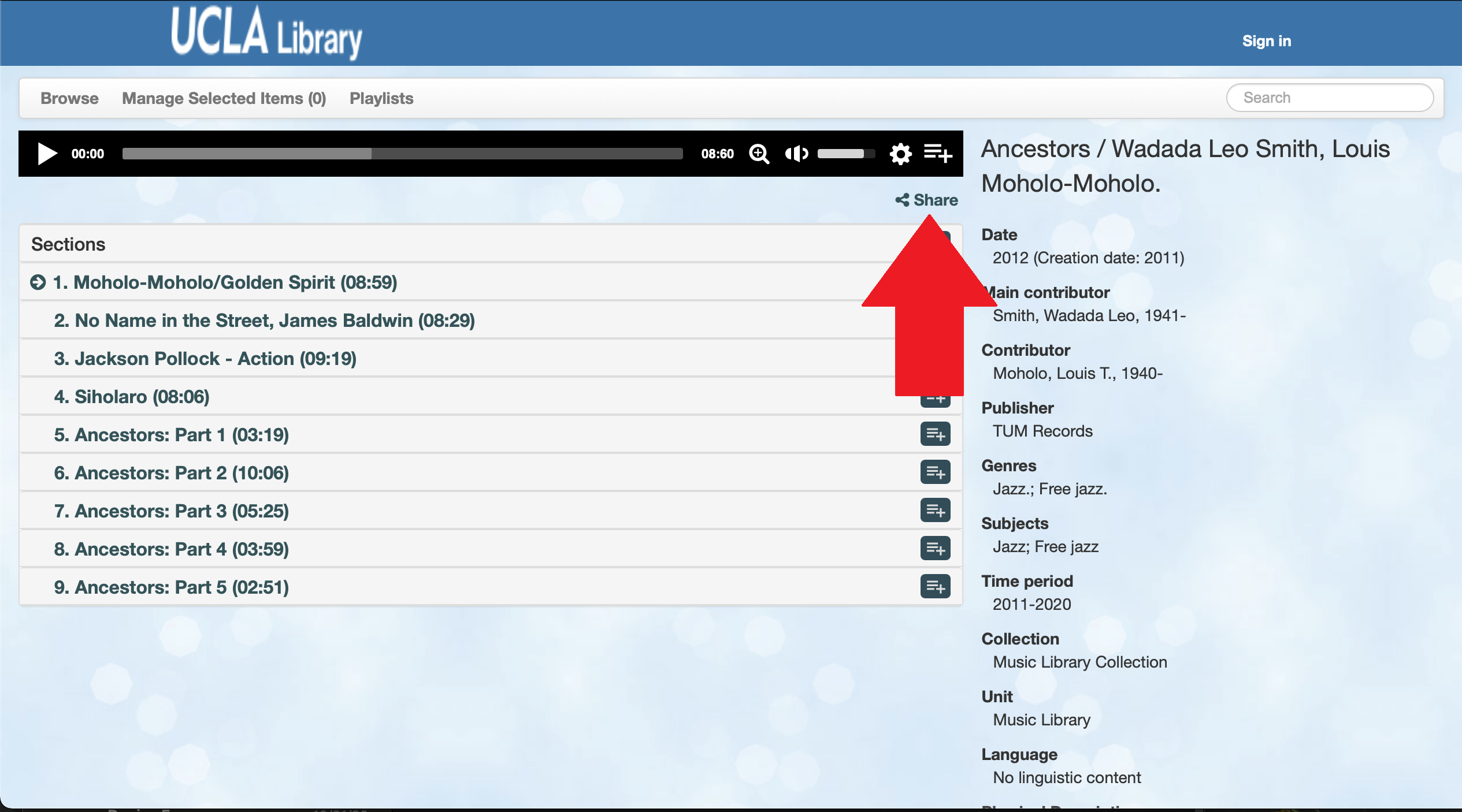"""Screen shot of Avalon with an arrow pointing to """"Share"""" button"""