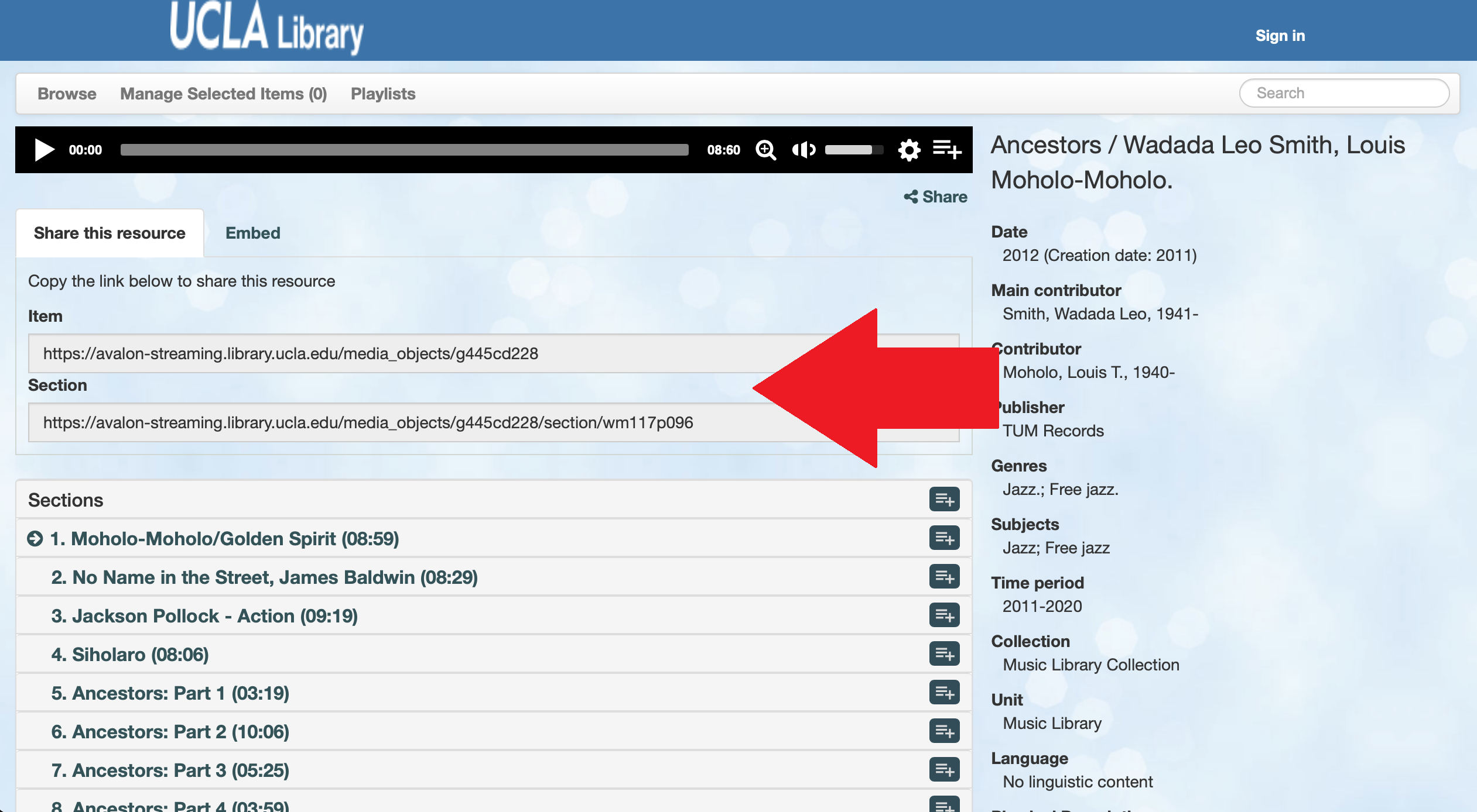 Screen shot of Avalon with an arrow pointing to the links to share a record